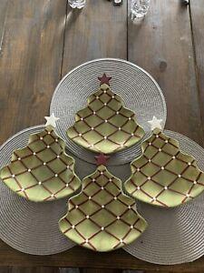 Pottery Barn Seasons Gretings Christmas Tree  Dishes