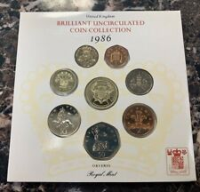 1986 United Kingdom Brilliant Uncirculated Coin Collection ~ 8 Coins in Booklet