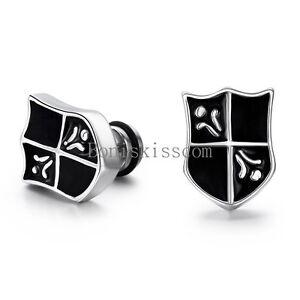 2pcs Men's Stainless Steel Vintage Cross  Shield Stud Earring Color Black Silver
