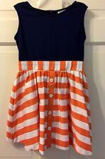 Maria Casera Sz 1 Women + Girls 7/8 Dress Navy Knit Bodice/Orange Striped Skirt