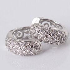 18K White Gold Filled Diamond Hoop Earrings 312