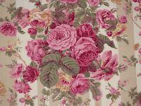 Lee Jofa BRAMDEAN Floral CAFE Pink Rose Stripe Drapery Upholstery Sewing Fabric