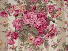Lee Jofa BRAMDEAN Floral CAFE Pink Rose Stripe Drapery Upholstery Sewing Fabric