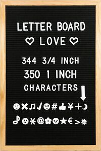 """12"""" x 18"""" Black Felt Letter Board with Solid Oak Wood Frame, 694 Letters/numbers"""