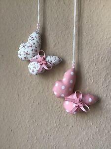 2 Schmetterlinge in Rosa Weiß Frühjahr Muttertag Baumwolle*Landhaus*Tilda Stil