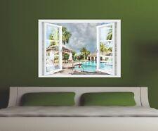 Wandtattoo Fenster 3D Optik Wandsticker Aufkleber Deko Bild - Urlaub im Paradies
