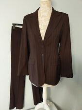 Charles Gray Pant Suit Size 4 Pants Size 8 Jacket Brown Pinstripe Exc