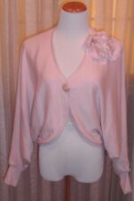 FAB SWEATER BOLERO , ONE BUTTON, MATCHING FLOWER, PERFECT LOOK, PALE PINK, M