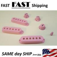 Pink Guitar Pickup Cover and Knobs Switch Tip Set