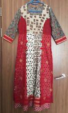 Kurta Designer Kameez Indian Pakistani Kurti Red Long Anarkali SIZE S UK 10 New