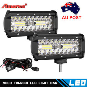 2x 7inch LED Work Light Bar Flood Spot Combo Fog Lamp Offroad Driving Truck+Wire