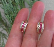 $5,370 Natural Ruby Diamonds 14k Yellow Gold Hoop style Earrings.