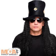 Slash Guns & Roses Sombrero Y Cabello/Peluca Disfraz Elaborado Vestido 80s para Hombre Celebridad AC
