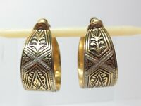 Vintage Toledoware Spain Hoop Earrings Inlay Enamel Screw Posts Damascene Toledo