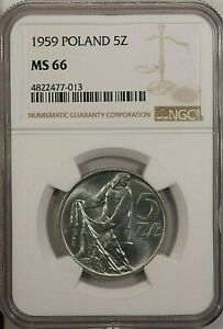 Poland 5 Zlotych 1959 NGC MS 66 UNC  Aluminum  Fisherman with Net