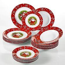 18Pcs Christmas Santa Claus Dinner Set Red Porcelain Tableware Plates Bowls Gift