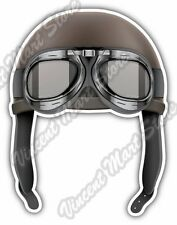 "Retro Aviator Pilot Leather Helmet Goggles Car Bumper Vinyl Sticker Decal 4""X5"""
