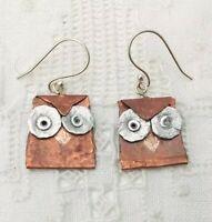 Modernist Copper Owl Bird Earrings Artisan Gallery Handmade Unique 925 Silver