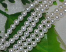 Natural 10-11mm AAA white luster round freshwater pearl Loose Bead 15""