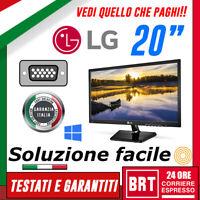 """PC MONITOR SCHERMO LED 20"""" 19,5 POLLICI LG M37 16:9 WIDE VGA DVI OTTIMO+BASE lcd"""