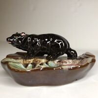 Vintage Bear Ashtray Coin Change Ring Dish Made in JAPAN Black Grizzly Fishing