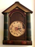 """Unusual Vintage Wooden """"Book-Ends"""" Wall Clock With Playing Cats Face 47x31cms"""