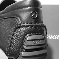 NIB HUGO BOSS Black Mercedes Benz Driver Moccasins Leather Fashion Men's Loafers