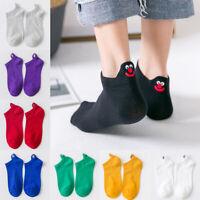 Happy Women Kawaii Embroidered Ankle Socks Cotton Streetwear Girls Funny