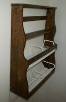Antica piattaia in legno credenza da cucina parete esposizione piatti stoviglie