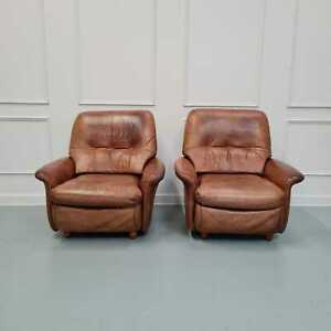 Pair of Vintage French Leather Guermonprez Armchairs c1970