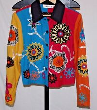 TUNIQUE Women's Multi-Color Flower Embroidered Beaded Button Front Jacket Size S