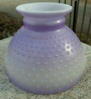 "8"" Original Vintage White Milk Glass Hobnail Table Purple Lamp Light Shade"