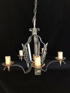 Antique Art Deco 5 Arm Hanging Lamp - Professionally Restored and Cleaned