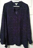 CATHERINES Plus Size 3X 26 28 Blouse Shirt Top Purple Black Animal Print Stretch