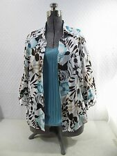 CHICOS SIZE 3 2 PIECE ENSEMBLE TANK TOP AND 3/4 SLEEVE FLORAL BLOUSE