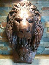 Large SAFARI LION HEAD WALL MOUNT STATUE DECORATION HOME DECOR PLASTER