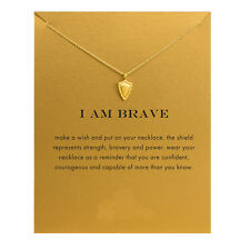 Sparkling I Am Brave Shield Gold Dipped Pendant Necklace