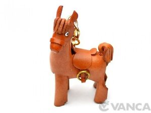 Pony Handmade 3D Leather (L) Keychain/ring/fob Charm VANCA Made in Japan #56130