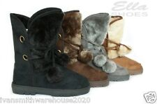 Womens Ladies ella boots fur lined warm and cosy for winter snow lace up snug WE