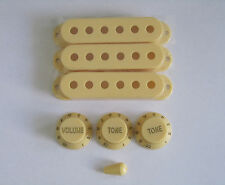 Cream ST/Strat Style Guitar Pickup Covers/Knobs/Switch Tip fits Stratocaster