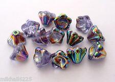 25 8 mm Czech Glass Bell Flowers: Vitrail - Alexandrite