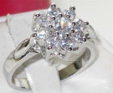 R832 .7 STONE FLOWER CLUSTER  ELEGANT ENGAGEMENT RING SIMULATED DIAMOND RING