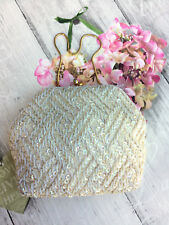 VINTAGE 50s EMPIRE MADE WHITE IVORY BEADED SEQUIN EVENING BAG BRIDAL OCCASION
