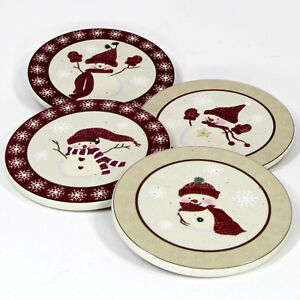 St. Nicholas Square WINTER WISHES Drink Coaster Set 4Pc Snowman Red Oatmeal MIB