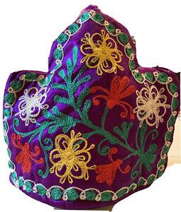 Vintage Floral Embellished Embroidered Purple Tea Cozie  Pot  Cover NWOT Boho