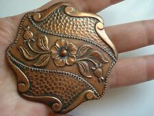 Vtg Antique Gift~ French Huge Victorian 3D Flower Copper Brooch Pin~BN~Free Ship