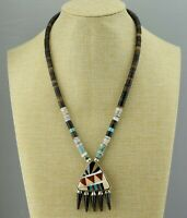 Southwest Unsigned Sterling Multi-Inlay Faux Claw Heishi Bead Pendant Necklace