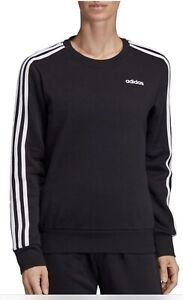 NWT!!Adidas Women's Three-Stripe Crewneck Fleece Sweatshirt In Black SZ US S/M/L