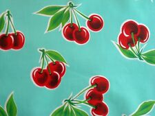 AQUA CHERRY STELLA RETRO KITCHEN PICNIC PATIO OILCLOTH VINYL TABLECLOTH 48x108