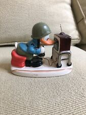 Vintage Goebel Disney Army Donald Duck Playing Space Invader Video Game Figurine